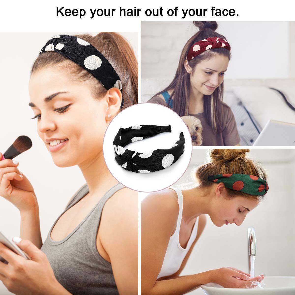 Boho Verdrehte Stirnb/änder Haarband Frauen Cross Elastische Hairband Blume Gedruckt Kopfband knoten Kopf Warp Yoga Sport Hair Accessories Damen Haarreifen