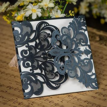 Amazon luxury diy laser cut black lace floral wedding luxury diy laser cut black lace floral wedding invitation invite card cover only 50pcs stopboris Image collections