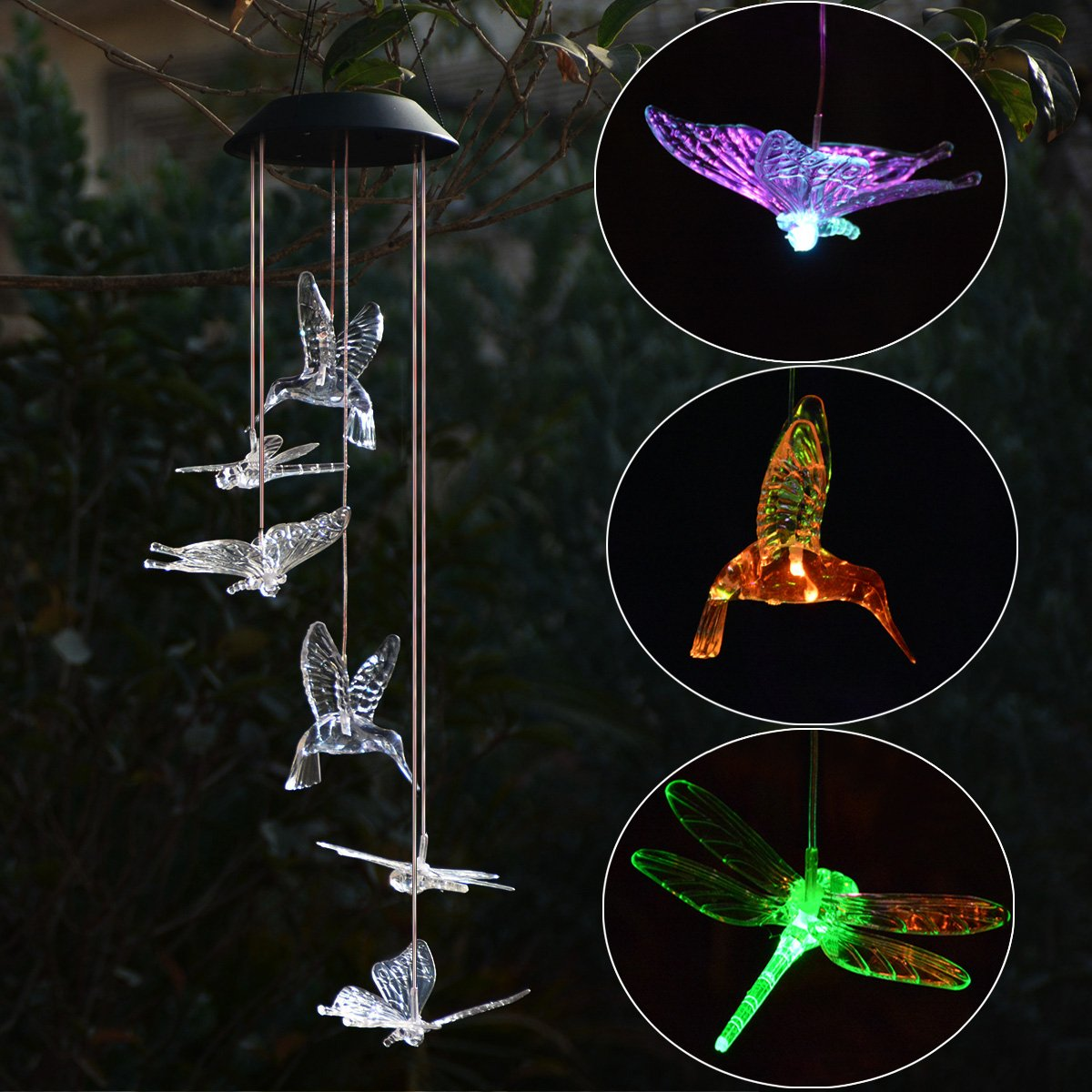 Homeleo Solar Light Up Wind Chimes, Butteryfly Hummingbird Dragonfly Wind Chimes, Color Changing LED Mobile Windchimes for Outdoor Garden Patio Decoration