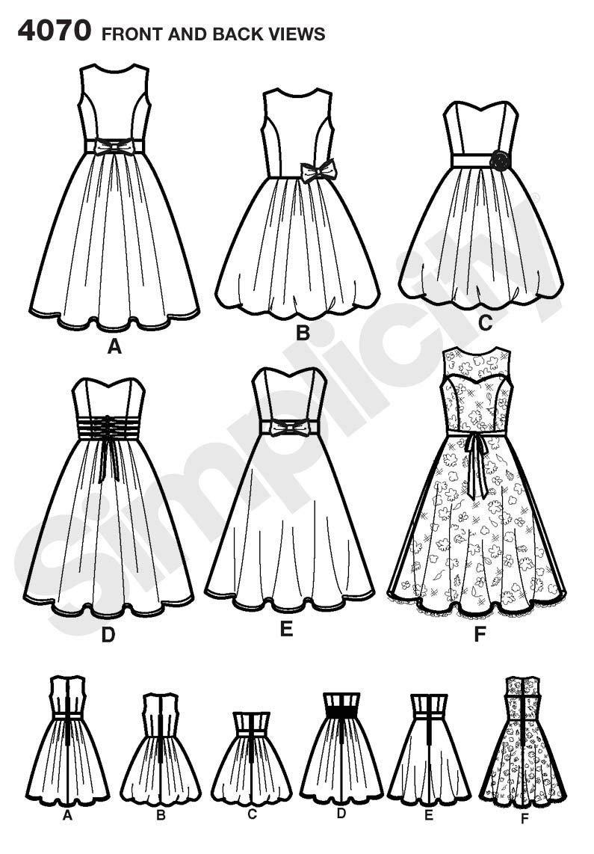 Simplicity 4070 P5 - Patrones de costura para vestidos de fiesta de chica y mujer: Amazon.es: Hogar
