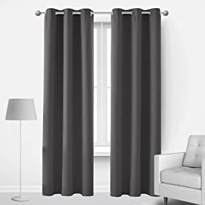 Deconovo Thermal Insulated Sound Proof Curtains for Window Energy Saving Dark Grey Blackout Curtains 84 Inch Length 2 Panels