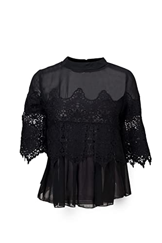 Beauty7 Encaje Florales Lace Casa Camisetas Mujer Verano Cuello Mao 3/4 Mangas Camisas Blusas T Shir...