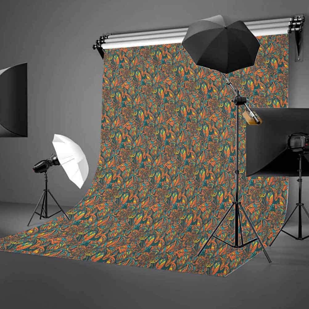 9x16 FT Floral Vinyl Photography Background Backdrops,Hand Drawn Style Ornamental Flowers Botanical Vintage Summer Garden Illustration Background for Selfie Birthday Party Pictures Photo Booth Shoot