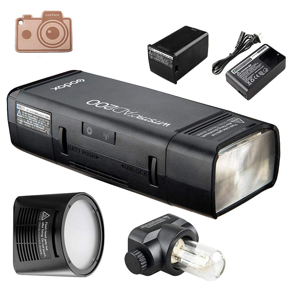 Godox AD200 Pocket Flash and H200R Ring Flash Head Set, 200Ws 2.4G TTL Strobe Flash 1/8000s HSS Cordless Monolight with 2900mAh Lithium Battery Bare Bulb by Godox (Image #1)