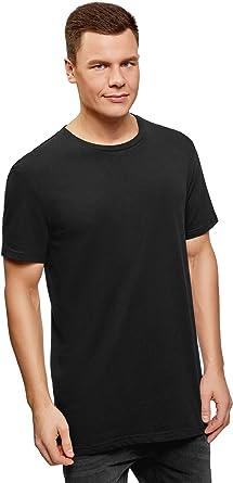 TALLA 50. oodji Ultra Hombre Camiseta de Algodón con Aberturas en los Laterales
