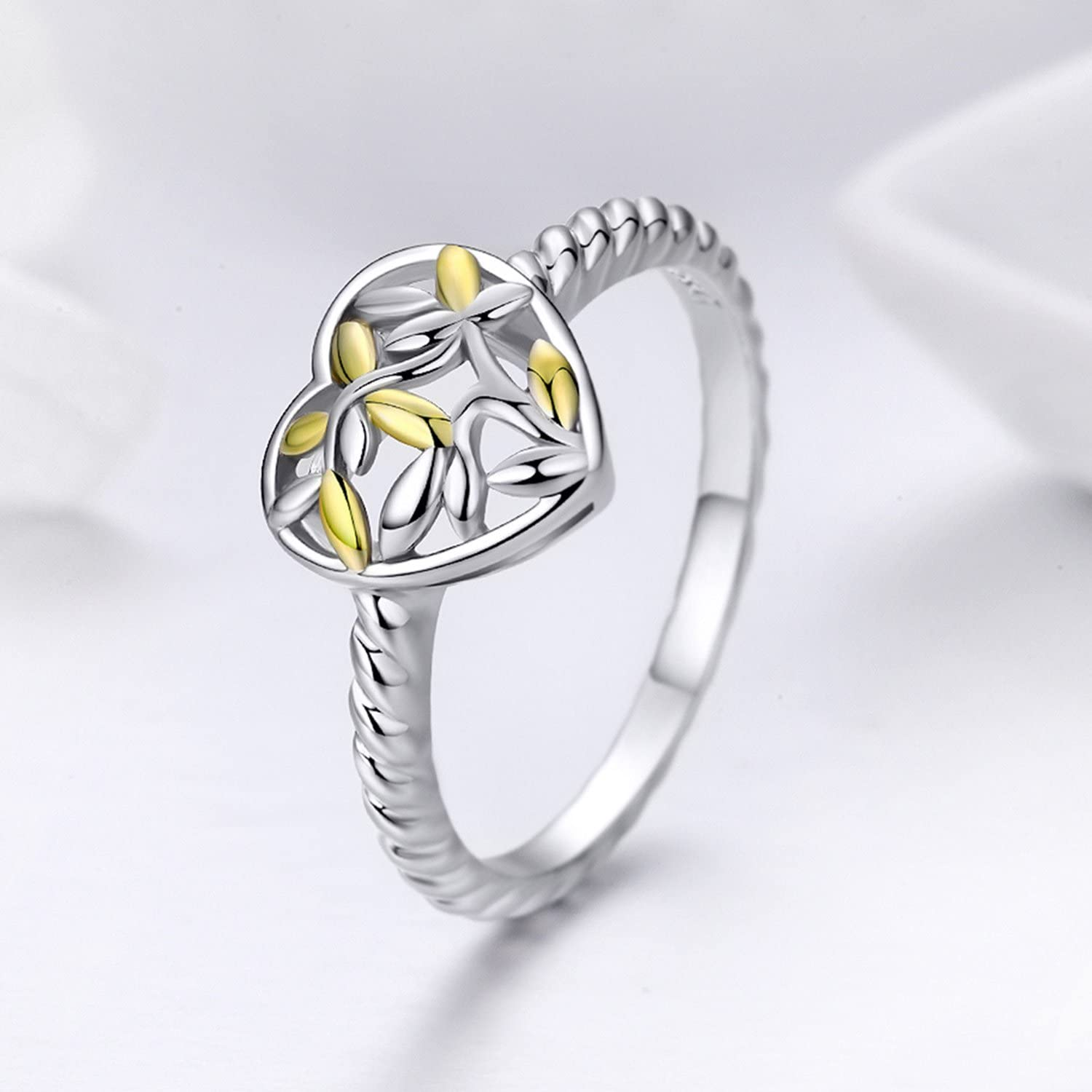 Athena 925 Silver Rings for Girls Tree of Life Heart Ring for Women