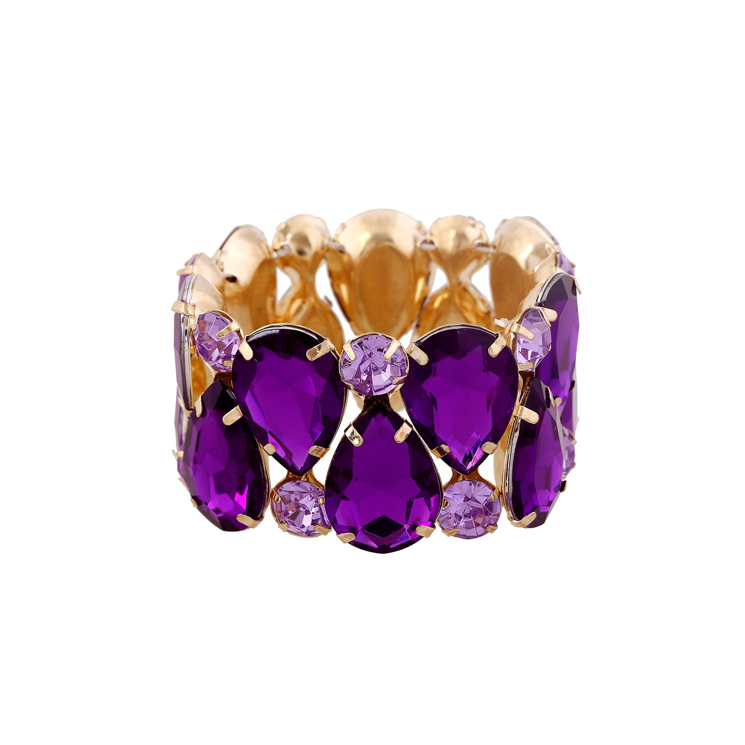 D EXCEED Womens Sparkle Crystal Bling Bangle Stretch Bracelet 7'' (Purple)