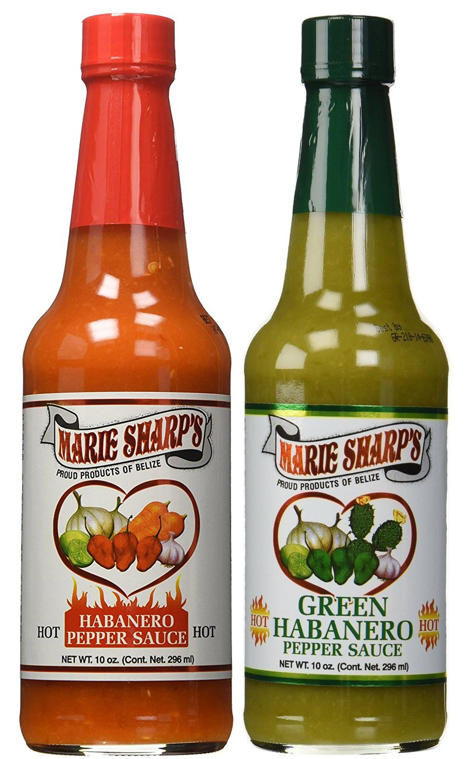 Marie Sharp's HOT and GREEN Habanero Pepper Sauce 10oz (Pack of 2) by Marie Sharp's