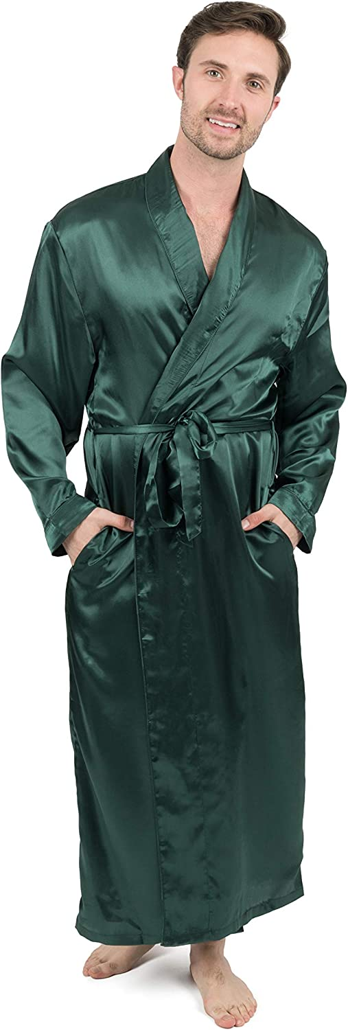 Leveret Mens Satin Robe Christmas Robe (Size Small-XXX-Large)