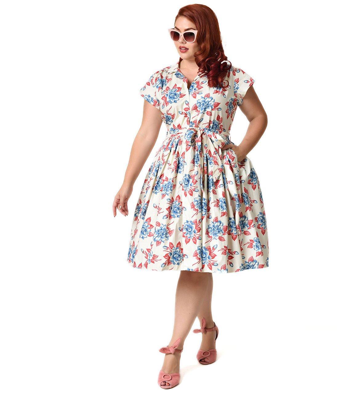 Bernie Dexter Plus Size 1950s Style Ivory Gardenia Floral Kelly Swing Dress by Unique Vintage