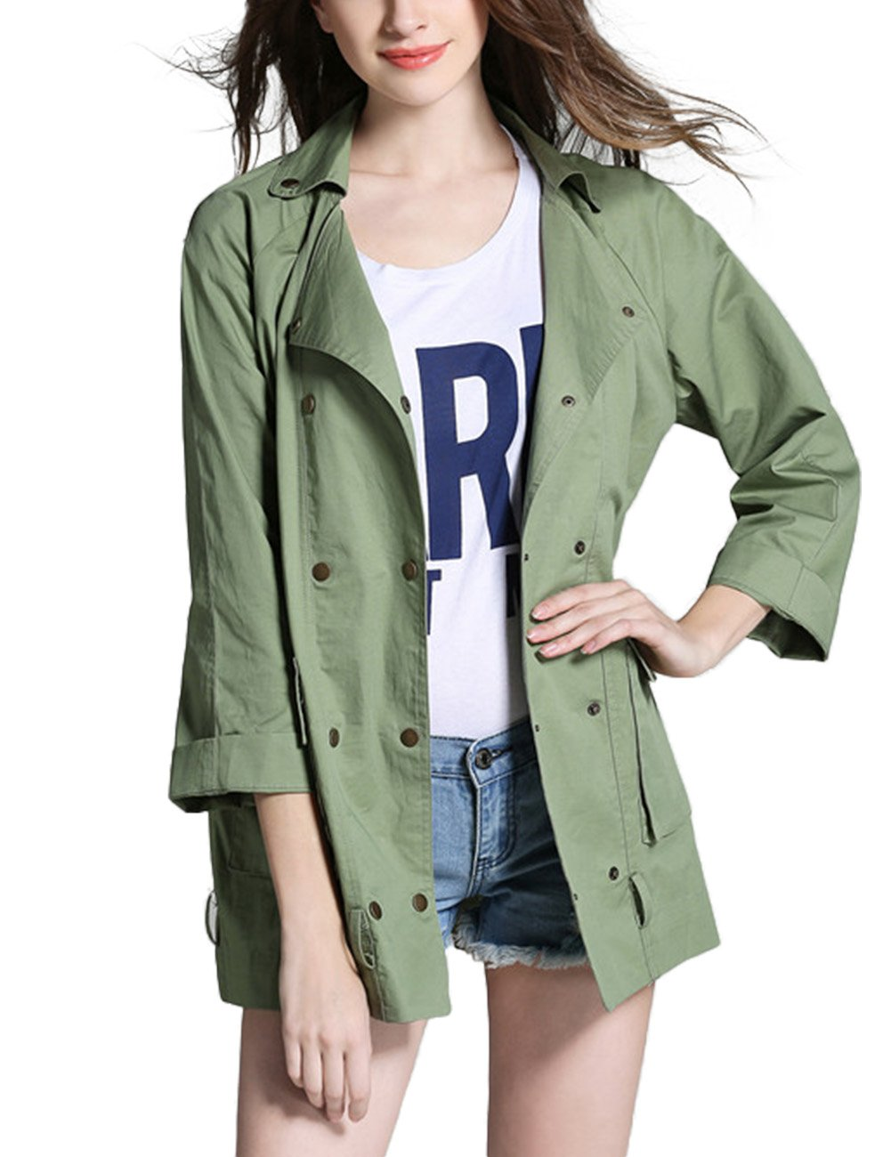 Accreate Women's Casual Fashion Simple Lapel 3/4 Sleeve Double-Breasted Jacket Coat Army Green For Three Quarter