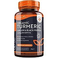 Ekologisk gurkmeja kurkumin 1 440 mg med svartpeppar och ingefära - 180 ve-ganska högpotenta gurkmejakapslar (3 månaders…
