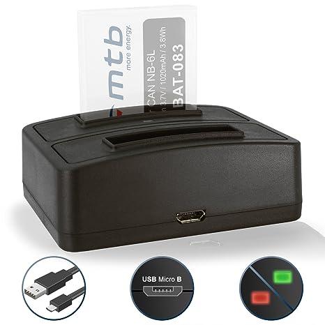 Cargador Doble (USB) NB-6L NB-6LH para Canon IXUS 85 IS… / Powershot D10 … / S95 … / SX170 IS … / SD… - Ver Lista de compatibilidad!