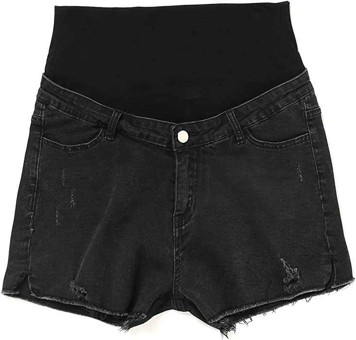 e791b9ad91584 JOYNCLEON Maternity Shorts Pants Denim Fold Over Waistband Pregnancy Short  Hole Jeans for Pregnant Women (