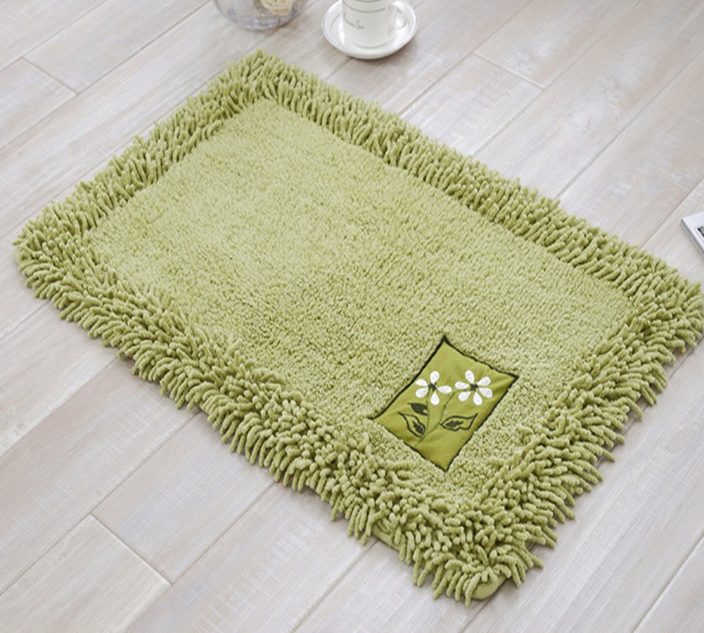 Ukeler 100% Cotton Shag Chenille Area Rugs Luxury Spa Soft and Absorbent Bath Rug, 23.5''x35.4'', Green
