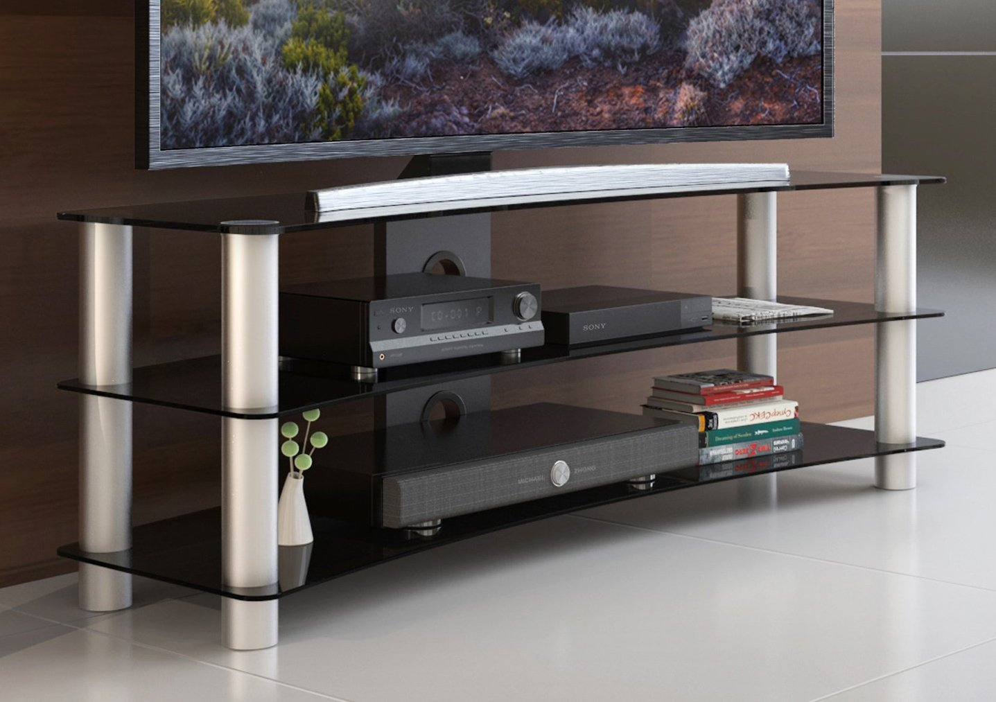 Amazoncom Fitueyes Curved Tempered Glass Tv Stand Suit For Up To