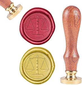 CRASPIRE Wax Seal Stamp Libra, Wax Sealing Stamps Retro Wood Stamp Removable Brass Head 25mm Wooden Handle for Wedding Envelopes Invitations Embellishment Bottle Decoration Gift Packing