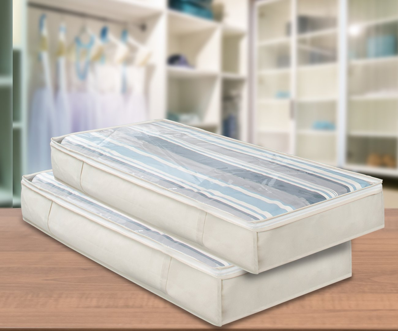 Foldable with Carry Handles Bedrooms Sorbus Underbed Organizer Storage Bag Set Great for Clothes Blankets and more Clear Cover Underbed Storage Bag - 2 Pack, Beige UNBD-BI-2PKA Closets