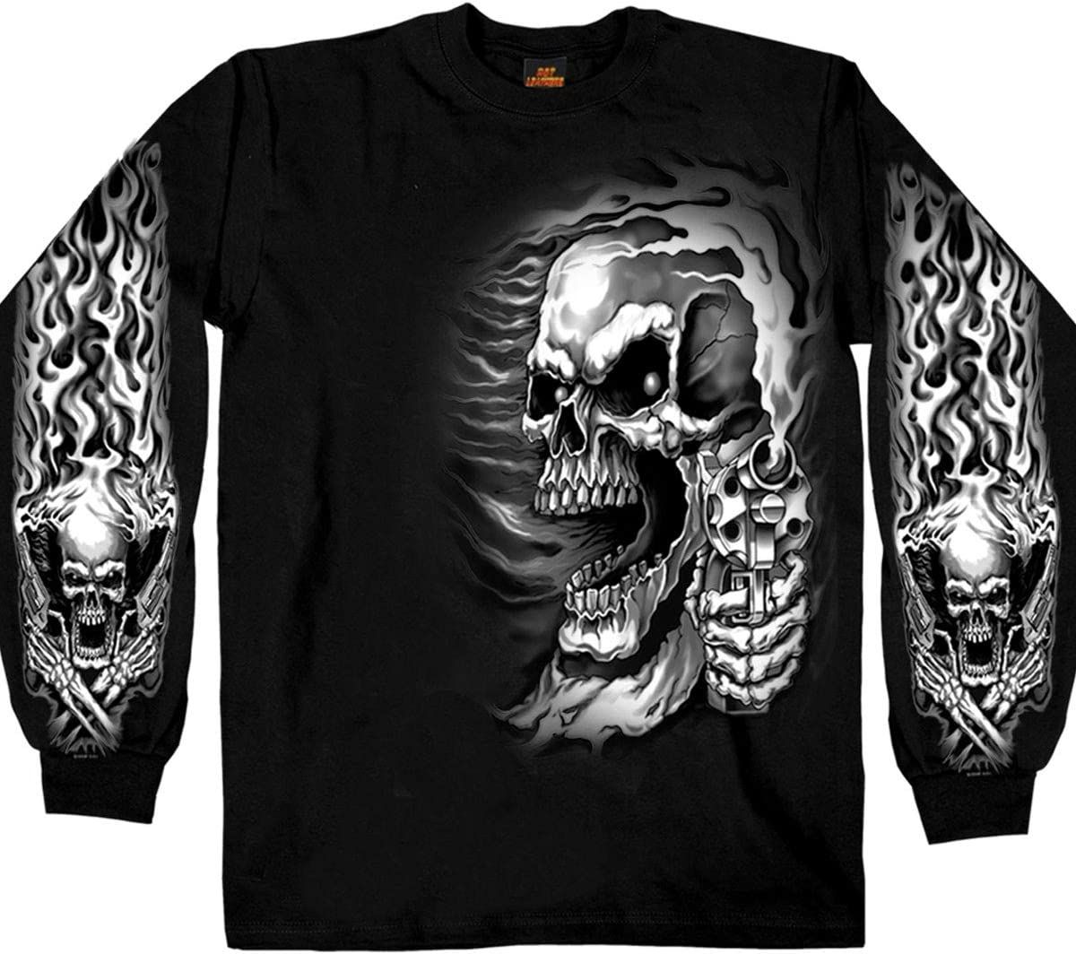 Hot Leathers Assassin Double Sided Long Sleeve T-Shirt Black, Medium