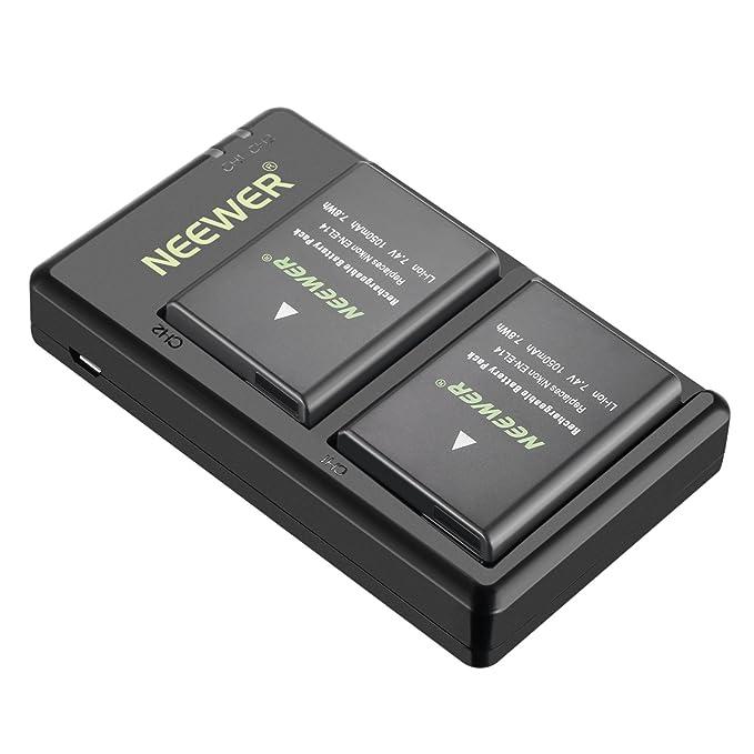 Neewer EN-EL14 EN-EL14A Cargador de Batería (2 Recargables Li-ion) Compatible con Nikon D5600 D3300 D3500 D5100 D5500 D3100 D3200 D5200 D5300 Coolpix ...