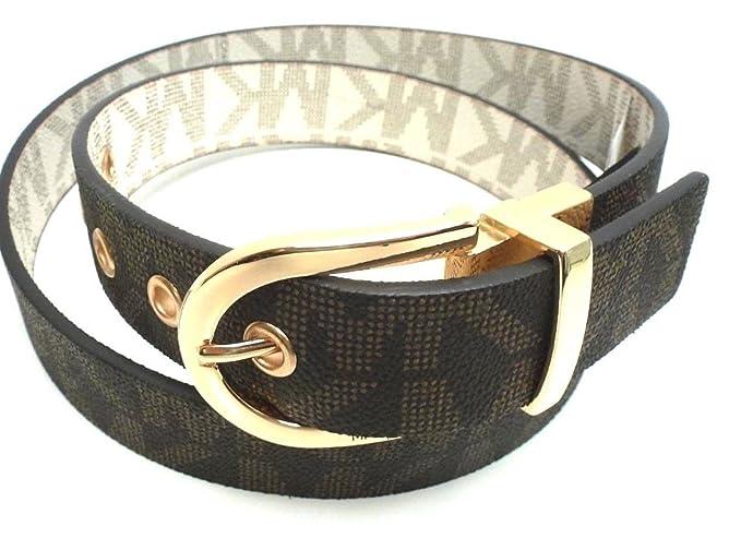 63785c124734 Michael Kors Women s Reversible Belt Monogram Chocolate Vanilla Faux  Leather Gold-Tone Buckle (M