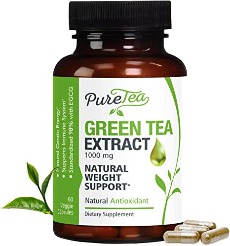 Green Tea Extract 98% Standardized Egcg for Healthy Weight Support 1000mg - Supports Healthy Heart, Metabolism & Energy with Polyphenols - Gentle Caffeine, Made in USA - 60 Capsules