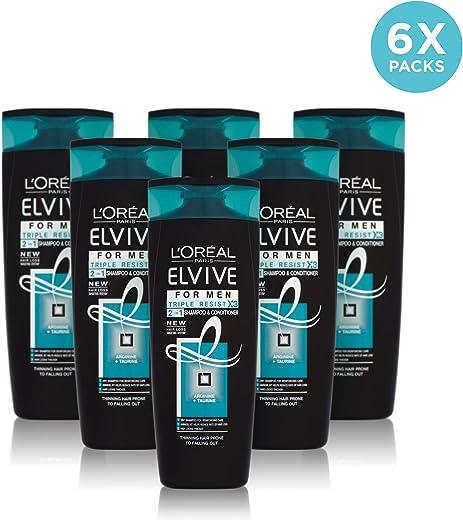 Elvive 2 - In - 1 men tripleresist, champu y protector de cabello, pack de 6-400ml
