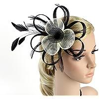 Frcolor Fascinator Hair Clip Pillbox Hat Cocktail Party Headdress Wedding Bridal Headwear (Black+White)