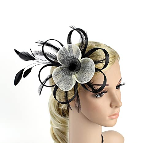 1e6388dd5530a Buy Frcolor Fascinator Hair Clip Pillbox Hat Cocktail Party Headdress Wedding  Bridal Headwear (Black+White) Online at Low Prices in India - Amazon.in