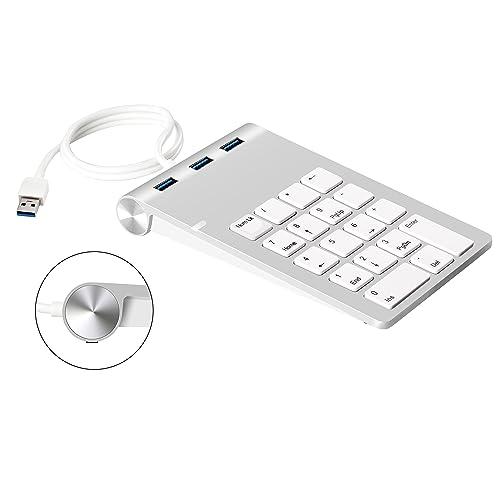 Cateck Pavé numérique USB avec concentrateur USB 3.0 et adaptateur son externe stéréo intégré pour iMac, MacBook, MacBook Air, MacBook Pro, Mac Mini, PC et ordinateurs portables