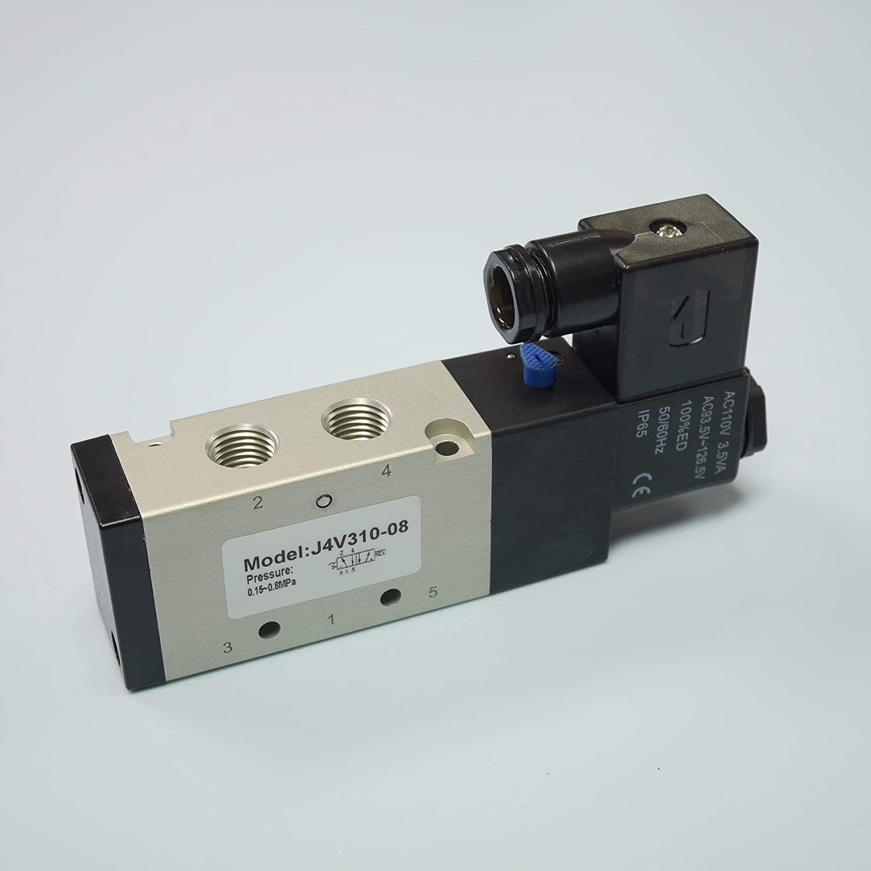 "1//4/"" Pneumatic 5//2 Way Electric Control Solenoid Valve 4V310-08B AC110V"