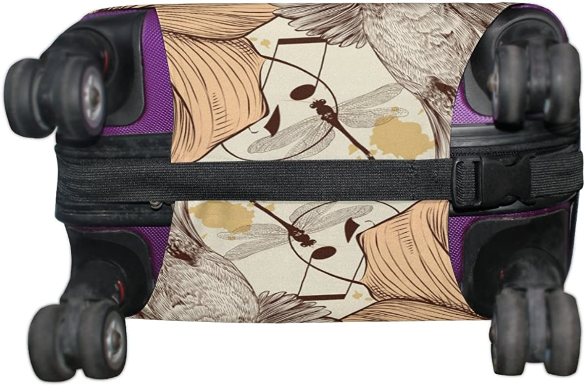 LAVOVO Retro Hummingbird Floral Luggage Cover Suitcase Protector Carry On Covers