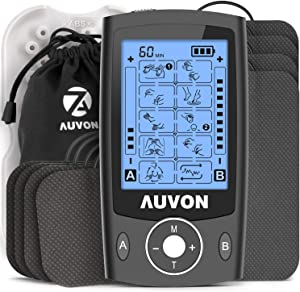 """AUVON Dual Channel TENS Unit Muscle Stimulator Machine with 20 Modes, 2"""" and 2""""x4"""" TENS Unit Electrode Pads (Black)"""