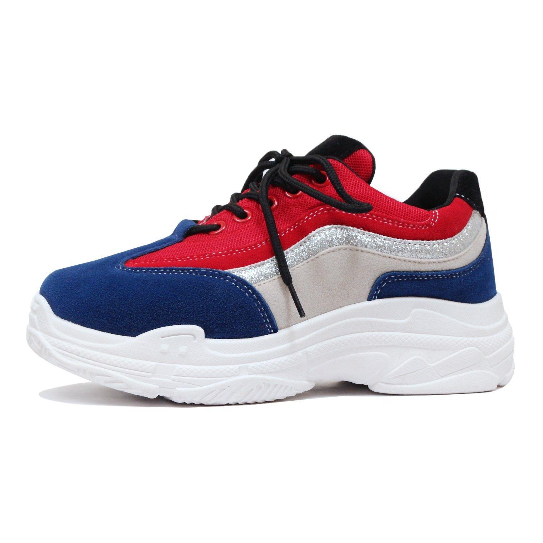 Guilty Heart | Women's Retro Multimaterial Daddy Platform Walking Fashion Sneakers (8 B(M) US, 3 BlueRed)