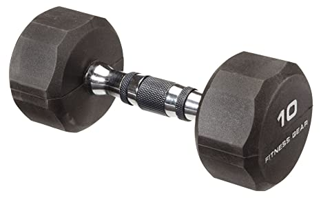 Fitness Gear 10 Lb, mancuernas hexagonales de caucho