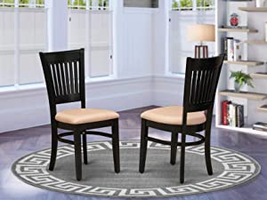 East West Furniture Vancouver Dining Upholstered Chair, Standard Height, VAC-BLK-C