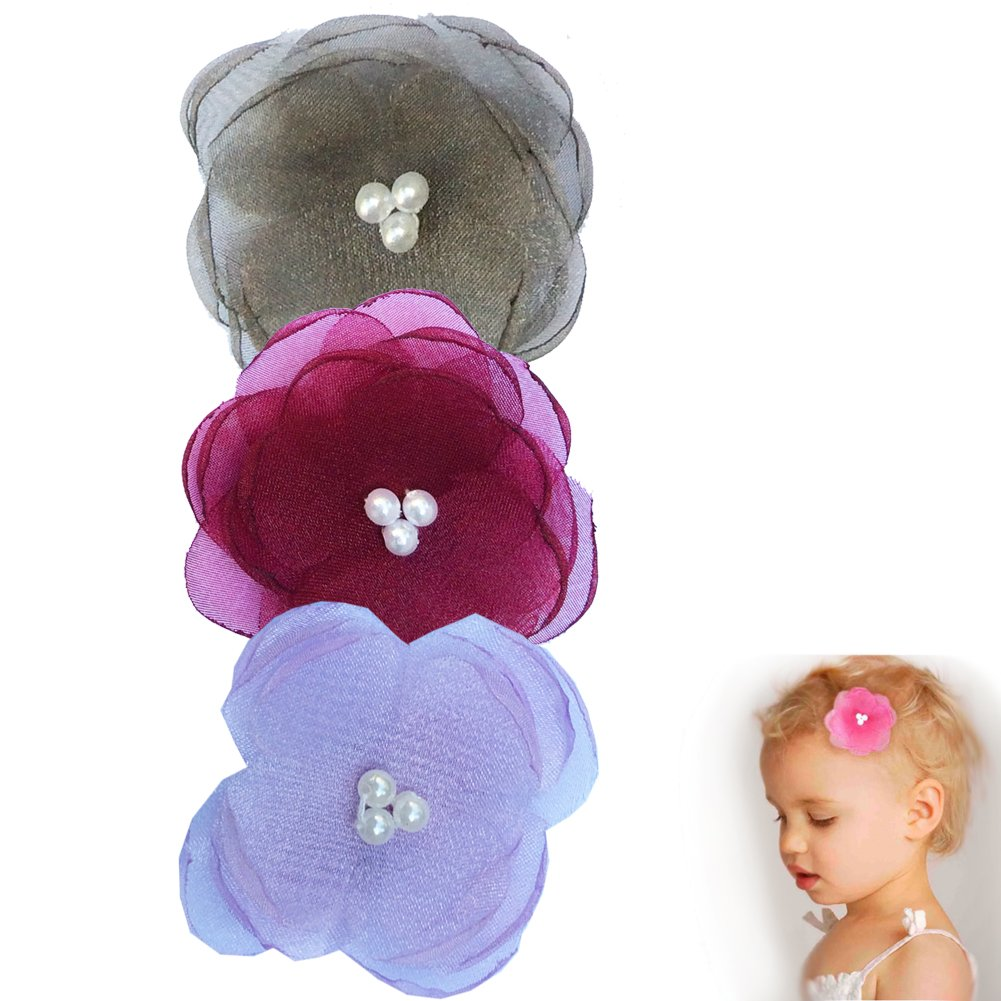 Pearl Poppy Flower Hair Clip - Girl TruStay Clip - Best NO Slip Barrette For Fine Hair (Pack1-Grey/Burgundy/Lavender)