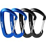 12KN Aluminium Wiregate Carabiners 4 Pack, Rated 2700 LBS Each KAMOTA Lightweight Carabiner Clips for Hammocks Clipping On Camping Accessories Keychains and More