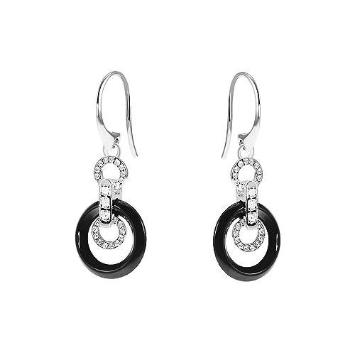 5621e085bb8f Aretes para mujer de Stella Maris - Plata Sterling 925 y cerámica negra  Premium - Circonia cúbica y Diamante - 3 cm - STM15J020  Amazon.es  Joyería