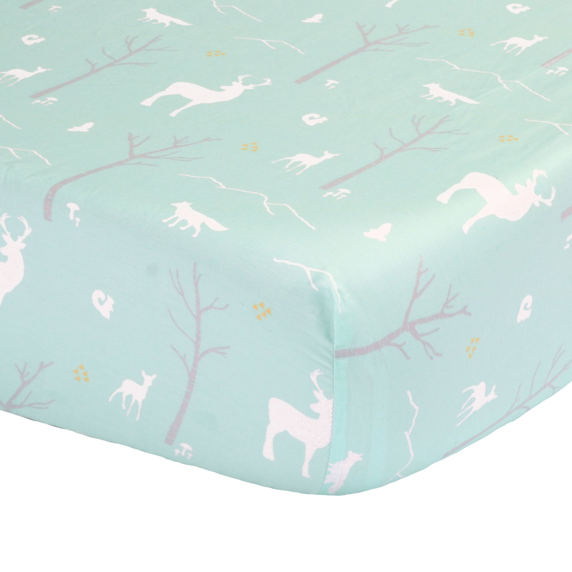 Mint Green Woodland Print Fitted Crib Sheet - 100% Cotton Baby Girl and Boy Forest Animal Theme Nursery and Toddler Bedding