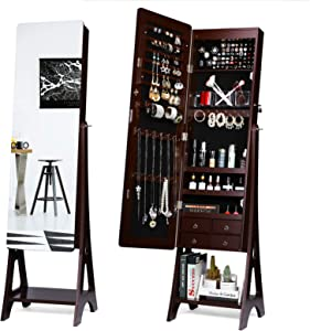TWING Jewelry Cabinet Armoire Free Standing 6 LED Jewelry Armoire With Full Mirror, Jewelry Organizer, Mirrored Jewelry Cabinet, Brown