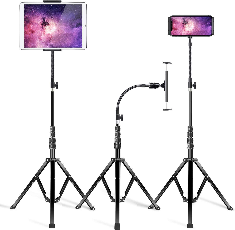 Elitehood Metal iPad Tripod Stand & Extendable 72'' Gooseneck Tablet Stand Holder, Heavy Duty Aluminum iPad Floor Stand for iPad Mini Air Pro 11, Galaxy Tab, Kindle, and 4.7-12.9