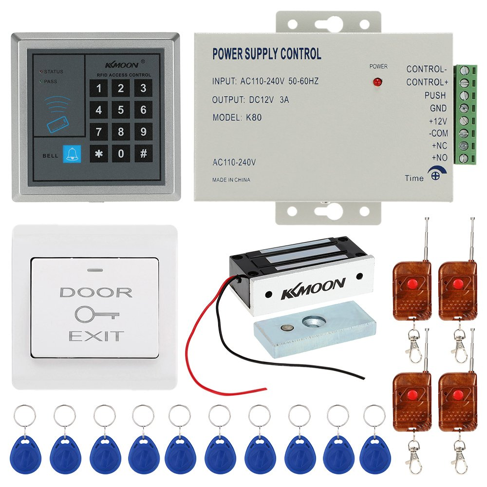 Keypad Door Access System, KKmoon DC12V 125KHz Door Entry Access Control System with Access Reader & 60KG Electric Magnet Lock & Power Supply & Push Button & 4Remote Controller & 10RFID Card