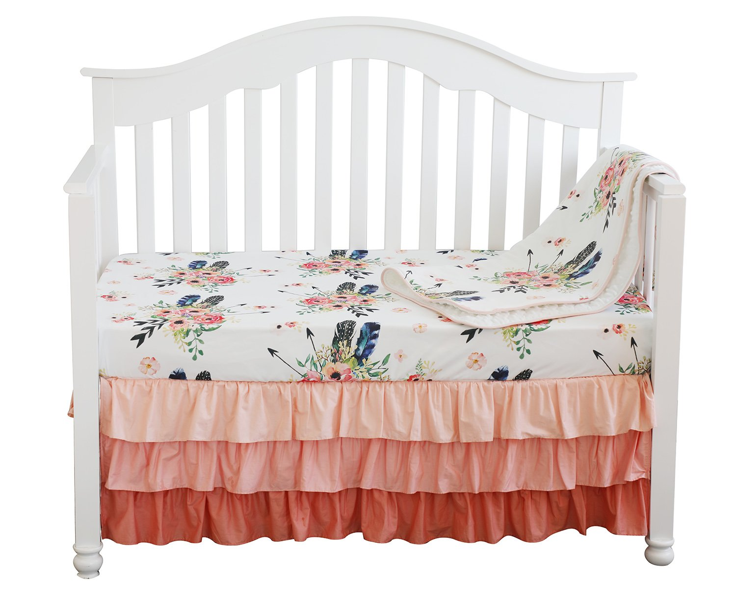 Floral n Feathers Navy Pink n Mint Double Sided Minky Blanket or Quilt Nursery Crib Toddler Baby Child Teen Adult *Made to Order*