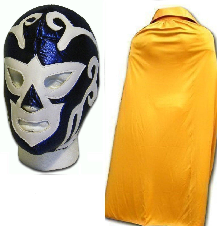 WRESTLING MASKS UK Men's Huracan Ramirez Fancy Dress Up Luchador Mask W/ Cape One Size Gold