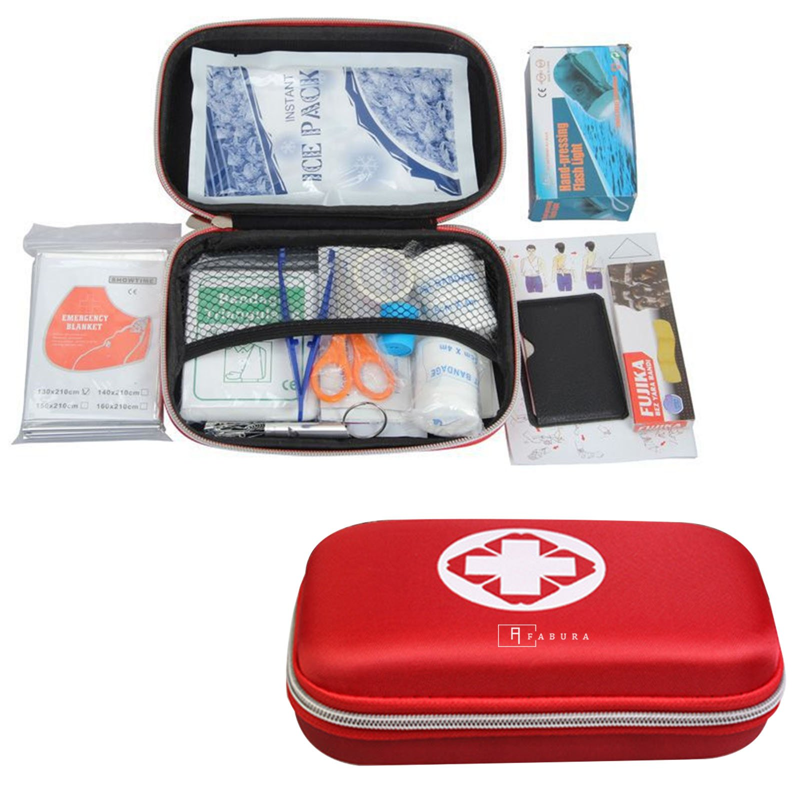 Fabura Outdoor Emergency Sports Travel Camping First Aid Survival Gear Kit With Waterproof Bag, 18-Piece One Pack, Model 1