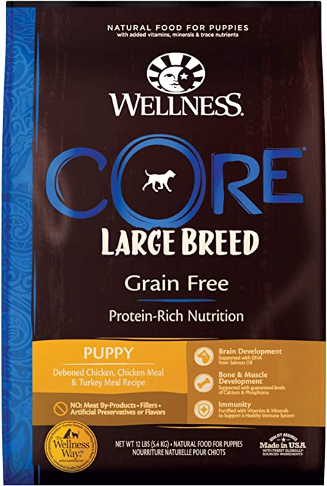 Wellness Natural Pet Food CORE Natural Grain Free Dry Puppy Food, Large Breed Puppy, 12-Pound Bag