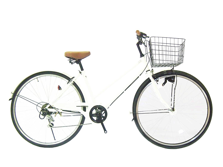 Lupinusルピナス 自転車 27インチ LP-276TA シティサイクル LEDオートライト シマノ製外装6段ギア ブラックリム 100%完成車 B00K0Z85NE ホワイト ホワイト