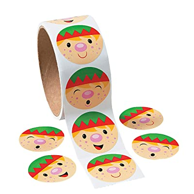 Fun Express - Elf Face Stickers for Winter - Stationery - Stickers - Stickers - Roll - Winter - 100 Pieces: Toys & Games