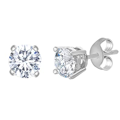 4ed4dd1f3 MIA SARINE Cubic Zirconia 5MM Round Stud Gift Earrings for Women in 4 Prong  Basket Setting